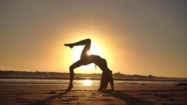 yoga pose beach